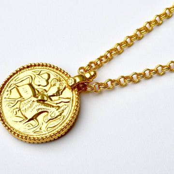 Rhiannon Long Medallion Necklace - Goldmakers Fine Jewelry