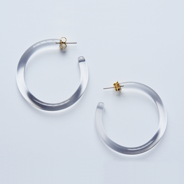 Clear Hoop Earrings - Goldmakers Fine Jewelry