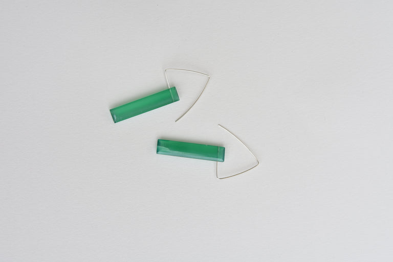 Green onyx earrings - Goldmakers Fine Jewelry