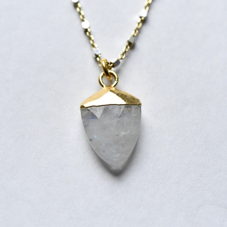 Rainbow Moonstone Shield Necklace - Goldmakers Fine Jewelry