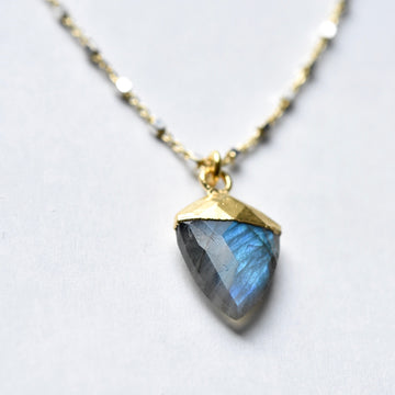 Labradorite Shield Necklace - Goldmakers Fine Jewelry
