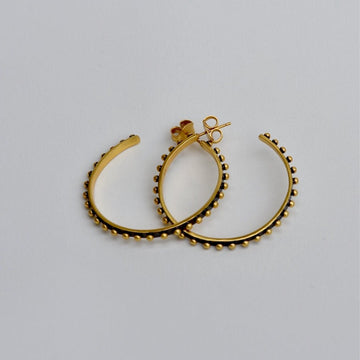 Large Studded Hoop Earrings- Oxidized - Goldmakers Fine Jewelry