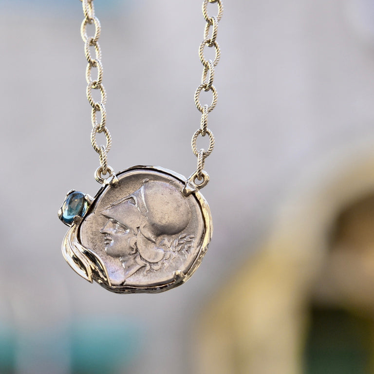 Athena Olive Necklace in Gold and Silver set with Ancient Greek Coin - Goldmakers Fine Jewelry