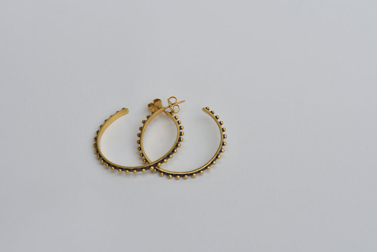 Medium Sized Studded Hoop earrings- Oxidized - Goldmakers Fine Jewelry