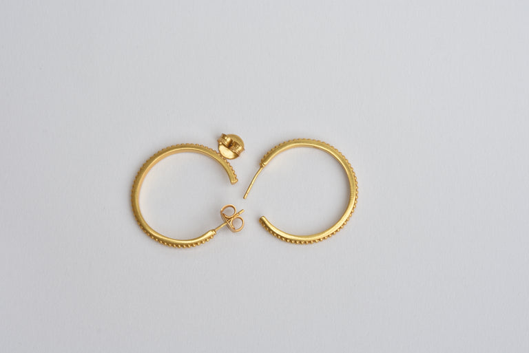 Medium Sized Studded Hoop Earrings - Goldmakers Fine Jewelry