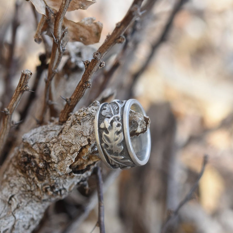 Oak Motif Ring in Silver - Goldmakers Fine Jewelry