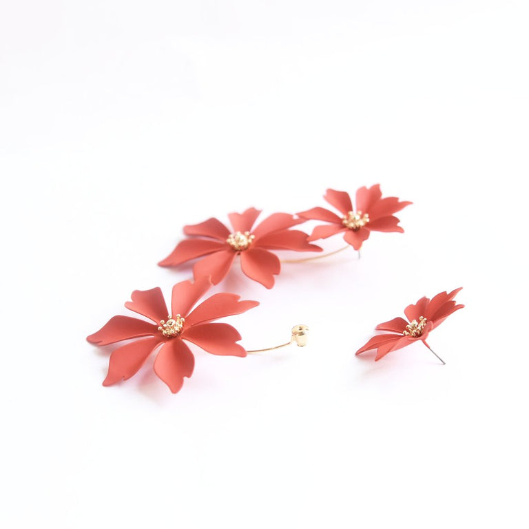 Flame Red Wildflower Earring Jackets - Goldmakers Fine Jewelry