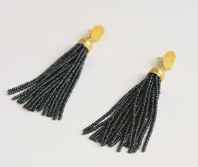Long Hematite Tassel Earrings - Goldmakers Fine Jewelry