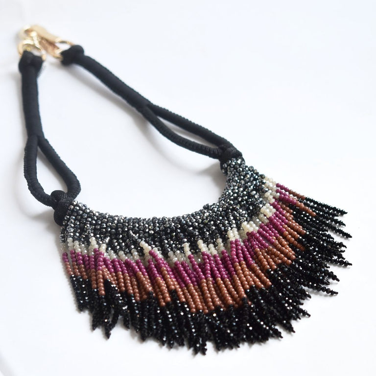 Beaded Fringe Necklace - Goldmakers Fine Jewelry