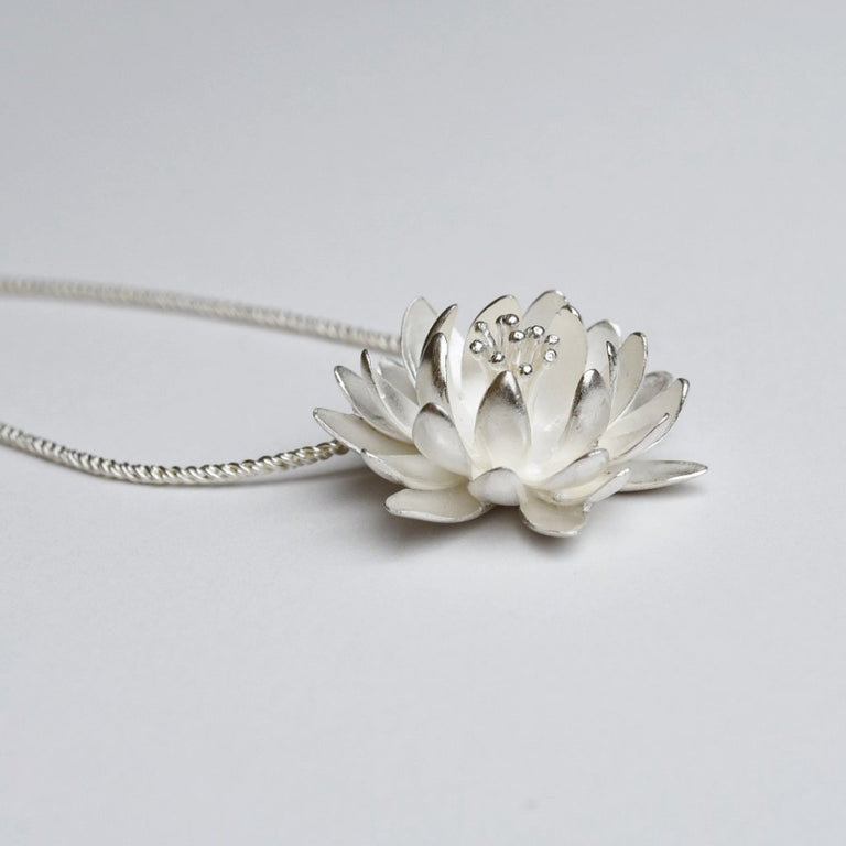 Large Waterlily Necklace with Lily-pad Clasp - Goldmakers Fine Jewelry