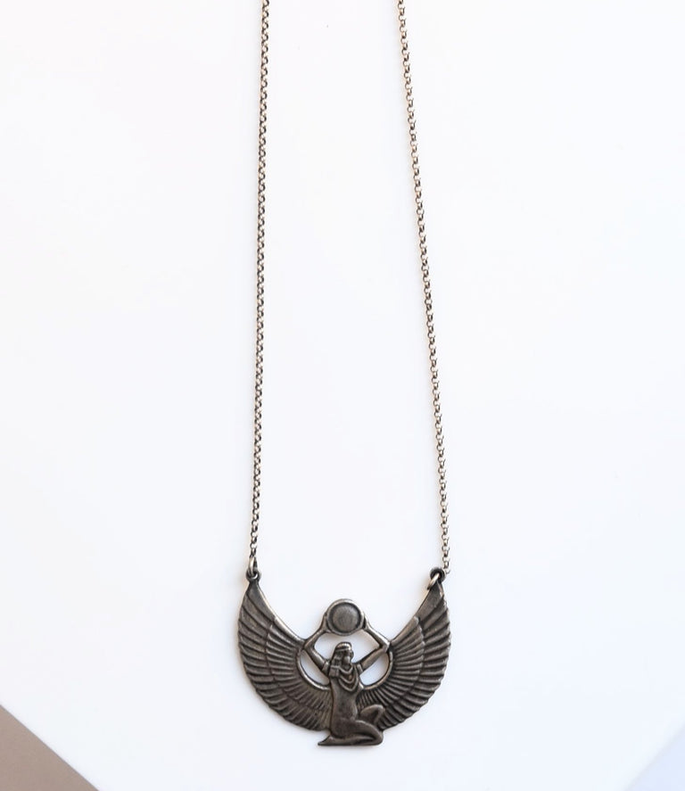 Isis Egyptian Revival Necklace in Silver - Goldmakers Fine Jewelry
