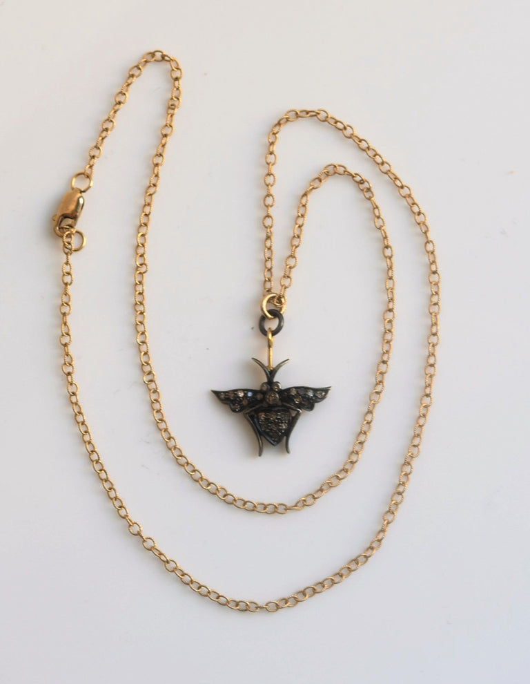 Black Diamond Bee Pendant Necklace - Goldmakers Fine Jewelry