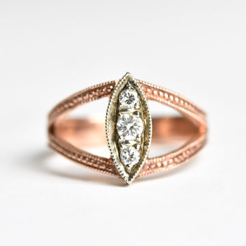 Hand Engraved Diamond Ring in White and Rose Gold - Goldmakers Fine Jewelry