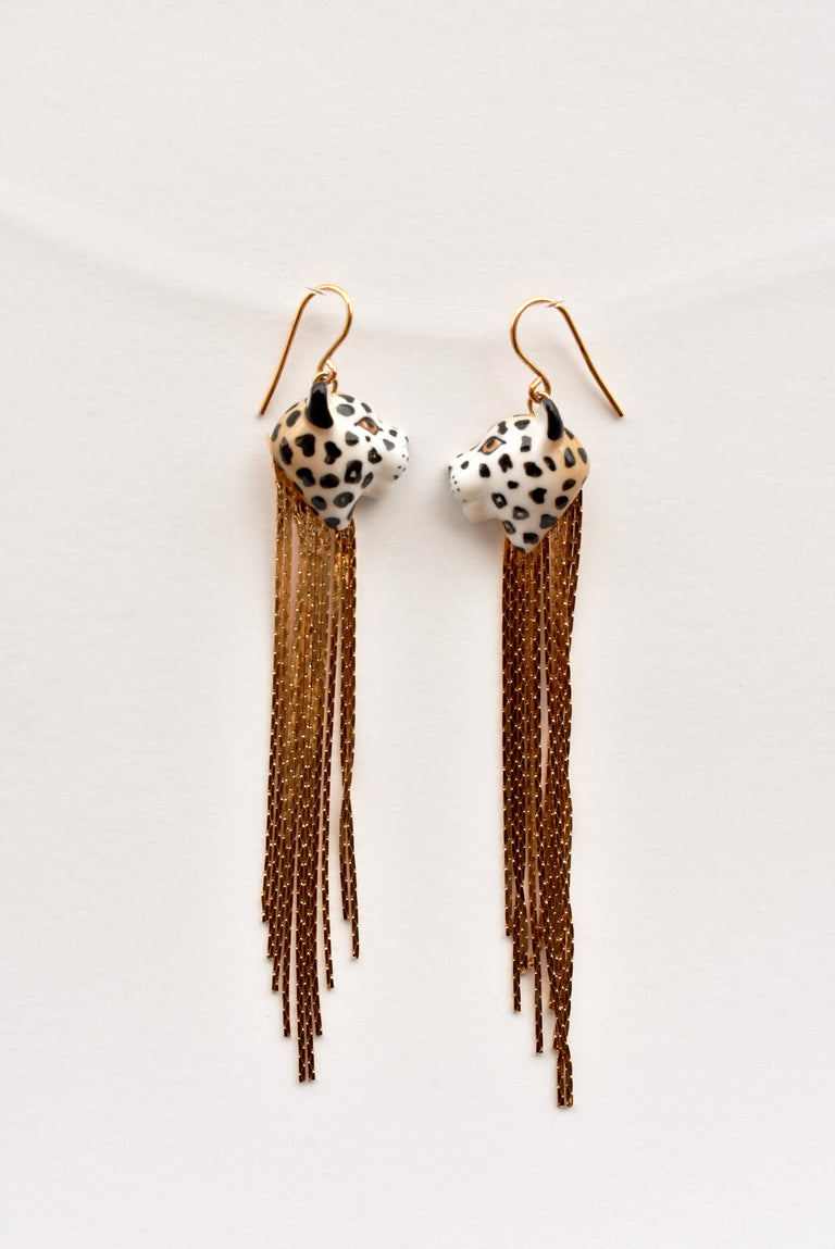 Leopard Fringe Earrings - Goldmakers Fine Jewelry