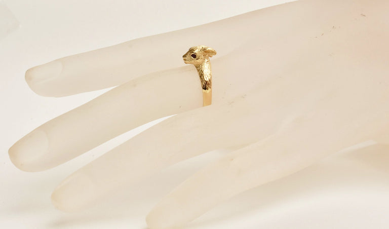 Golden Wild Rabbit Ring in Gold with Rubies - Goldmakers Fine Jewelry