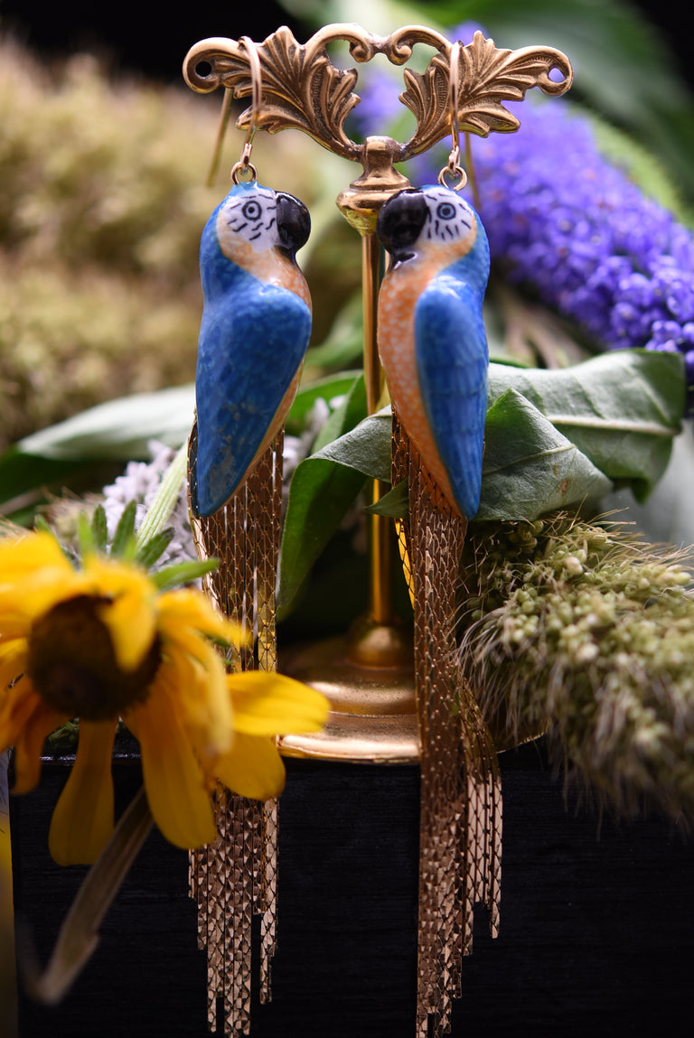 Blue and Yellow Macaw Golden Rain Drop Earrings - Goldmakers Fine Jewelry