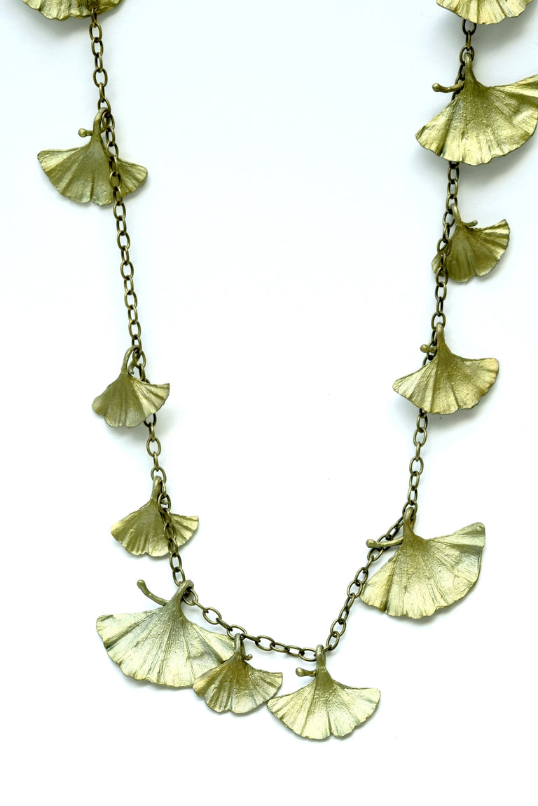 Long Ginkgo Necklace - Goldmakers Fine Jewelry