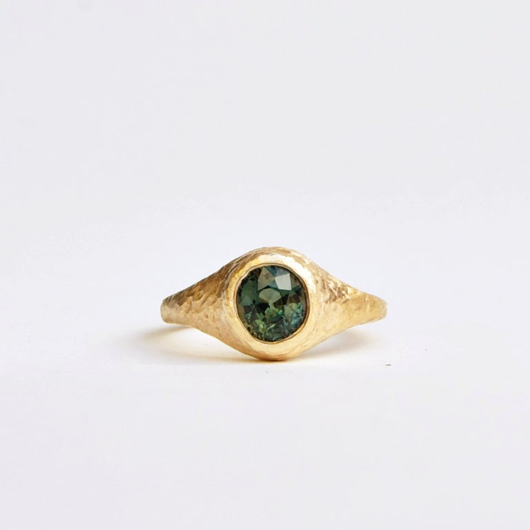 Green Sapphire Engagement Ring - Goldmakers Fine Jewelry