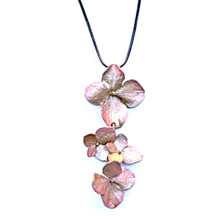 Hydrangea Blossom Pendant Necklace - Goldmakers Fine Jewelry