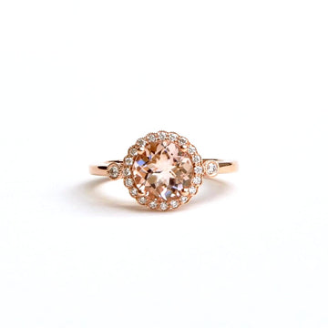 Morganite and Diamond Engagement Ring - Goldmakers Fine Jewelry