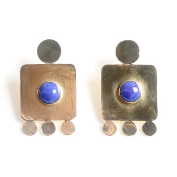 Lapis Gliph Earrings - Goldmakers Fine Jewelry