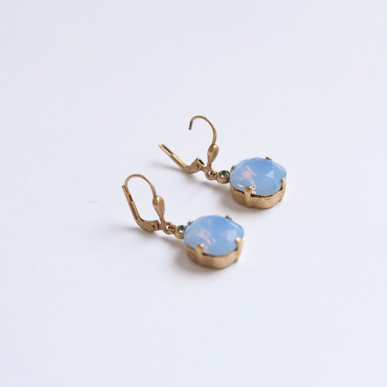 Classic Crystal Powder Blue Drop Gold Earrings - Goldmakers Fine Jewelry
