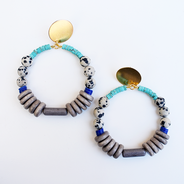 Magnesite and Dalmatian Hoop Earrings - Goldmakers Fine Jewelry