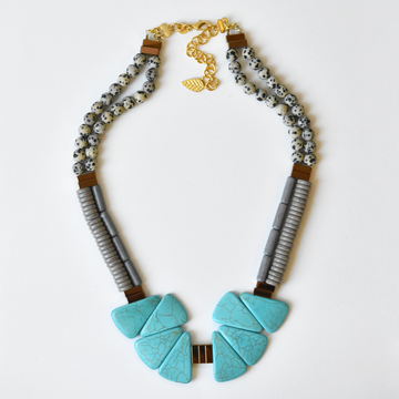 Teal Magnesite and Dalmatian Brass Necklace - Goldmakers Fine Jewelry