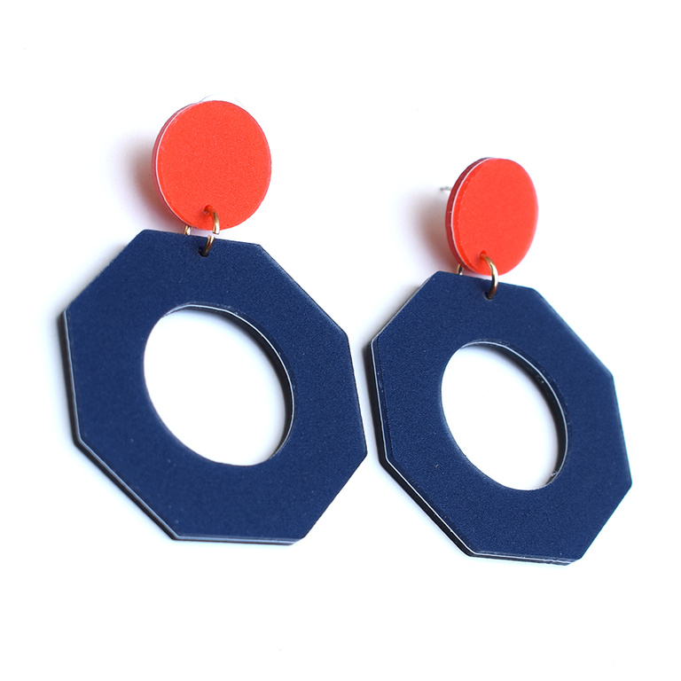 Dark Blue Octagon Earrings - Goldmakers Fine Jewelry