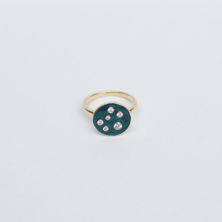 Diamond Vessel Gold Ring with Teal Enamel - Goldmakers Fine Jewelry