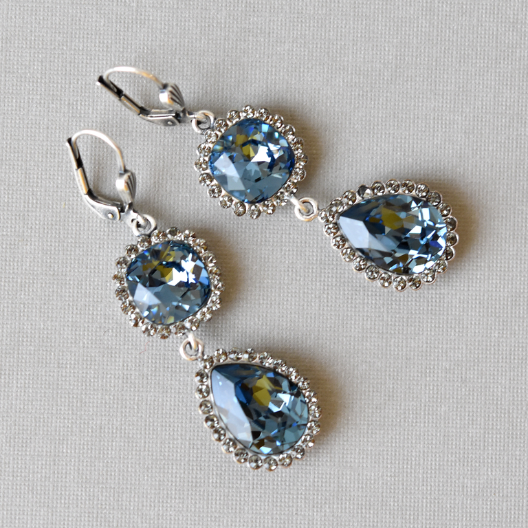 Crystal Drop Earrings in Montana Blue - Goldmakers Fine Jewelry