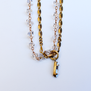 Double Chain Crystal Necklace with Marquis Drop - Goldmakers Fine Jewelry