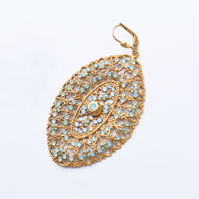 Elliptic Drop Earrings in Cyan - Goldmakers Fine Jewelry