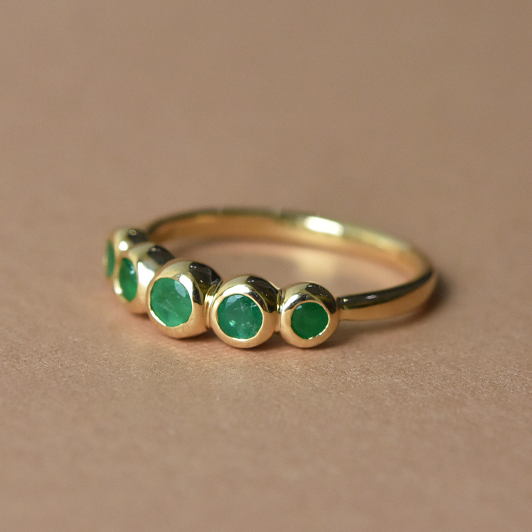 Emerald Wedding Band - Goldmakers Fine Jewelry