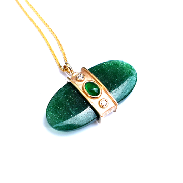 Emerald and Adventurine Necklace in Gold - Goldmakers Fine Jewelry