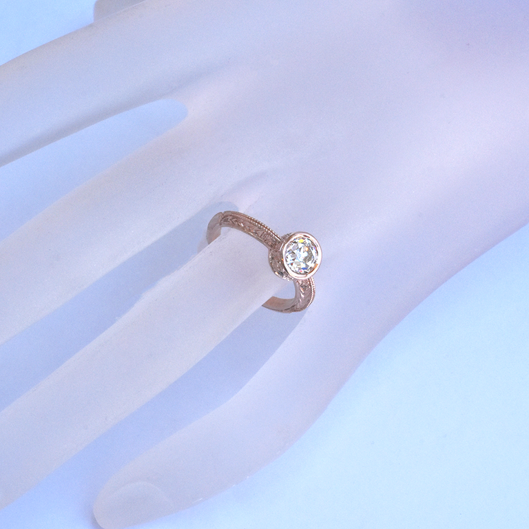 Exquisite Diamond Engagement Ring in Rose Gold with Engraving - Goldmakers Fine Jewelry