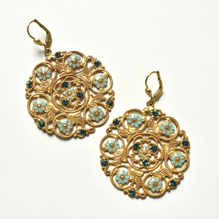 Floral Disk Earrings - Goldmakers Fine Jewelry