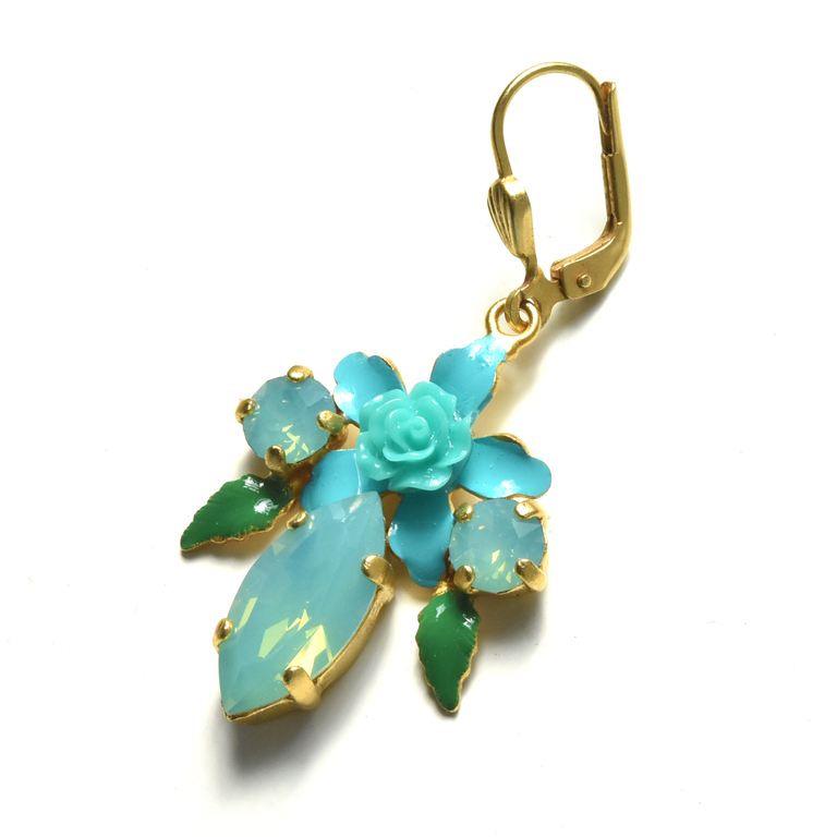 Blue Valentine rosebud Earrings - Goldmakers Fine Jewelry