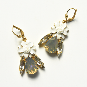 Crystal Flower Earrings - Goldmakers Fine Jewelry