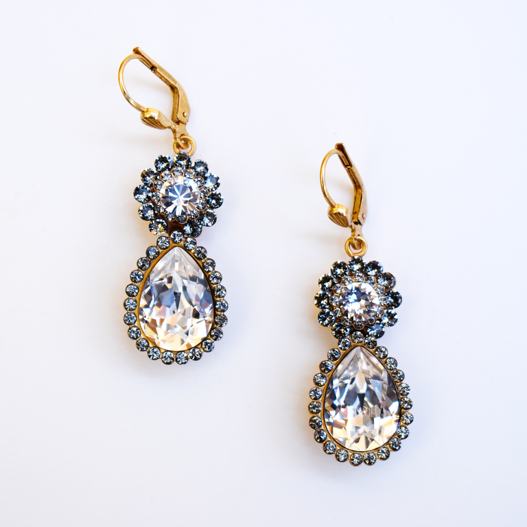 Fiore Crystal Drop Earrings - Goldmakers Fine Jewelry