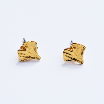 Ginkgo Post Earrings in Gold Vermeil - Goldmakers Fine Jewelry