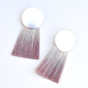 Golden Hours Redwood Horsehair Earrings in Sterling Silver - Goldmakers Fine Jewelry