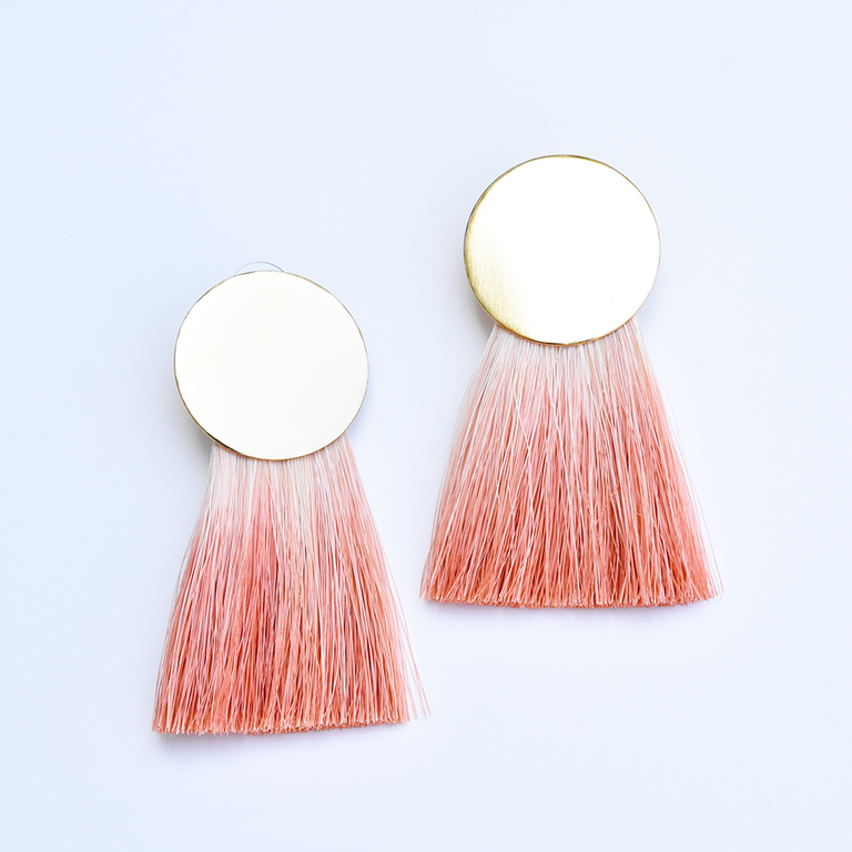 Golden Hours Rose Horsehair Earrings - Goldmakers Fine Jewelry