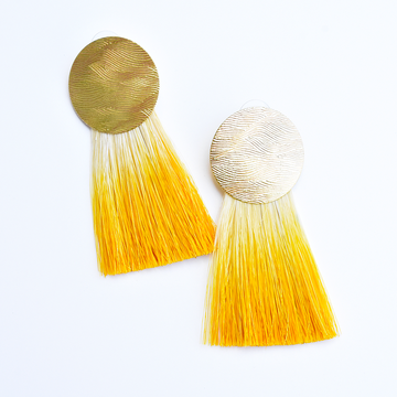 Golden Hours Turmeric Horse Hair Earrings - Goldmakers Fine Jewelry