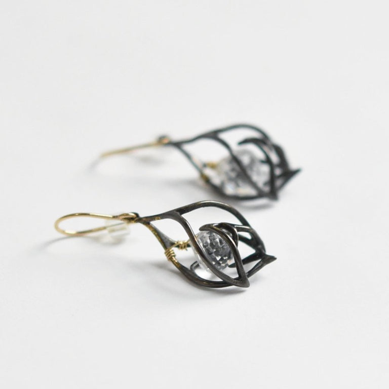 Gothic Cage Quartz Earrings - Goldmakers Fine Jewelry