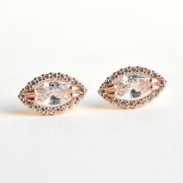 Halo Marquis Studs - Goldmakers Fine Jewelry