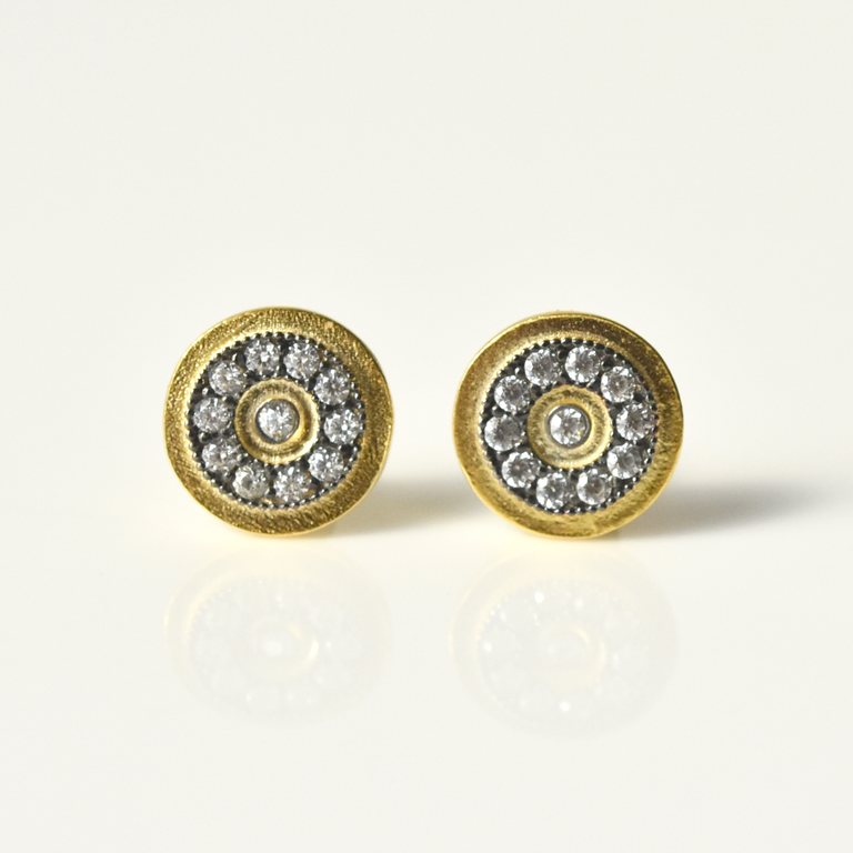 Vermeil Hammered Wheel Post Earrings - Goldmakers Fine Jewelry