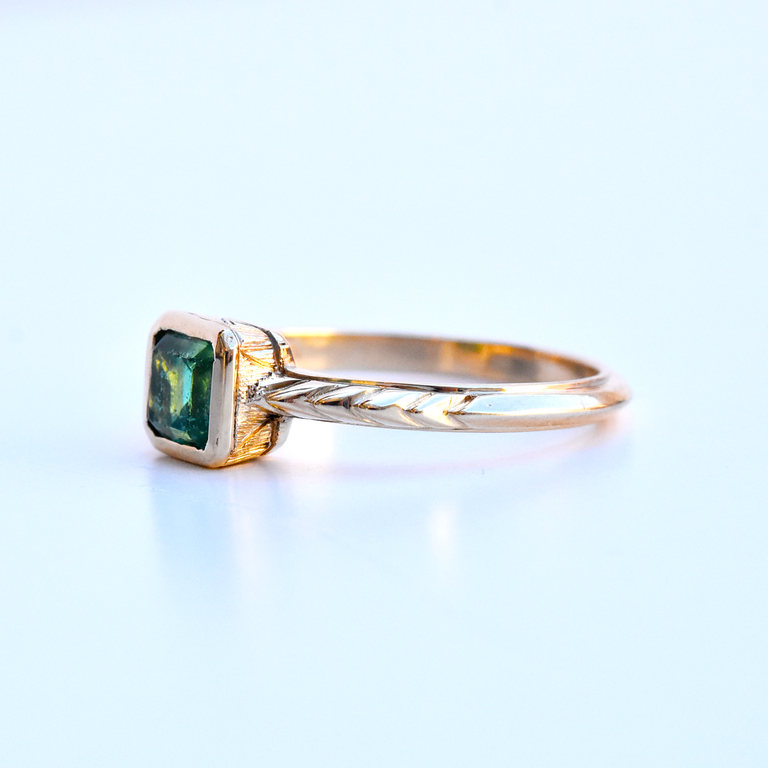Hand Engraved Emerald Ring - Goldmakers Fine Jewelry