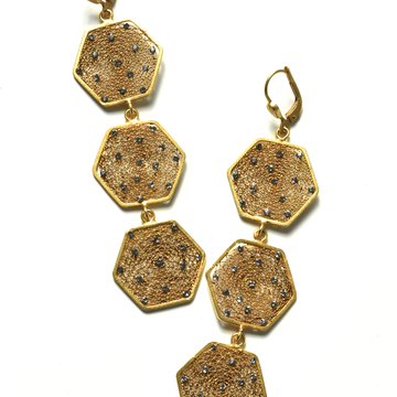 Honecomb Drop Earrings - Goldmakers Fine Jewelry
