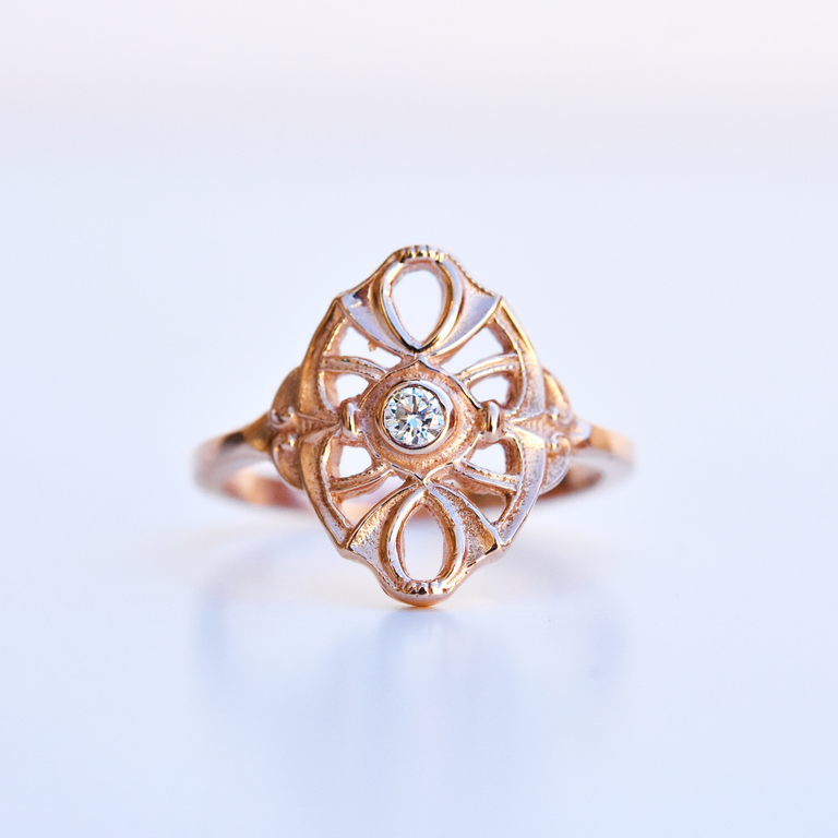 Petite Diamond Navette ring in Rose Gold - Goldmakers Fine Jewelry